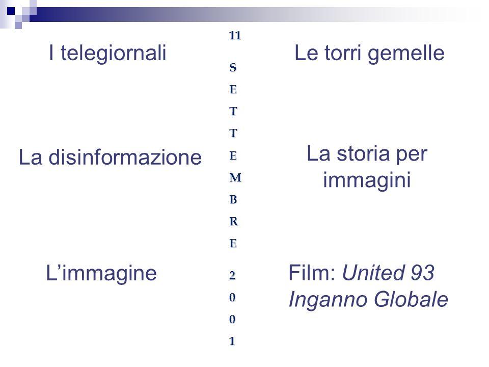 I telegiornali Limmagine La storia per immagini Le torri gemelle Film: United 93 Inganno Globale 11SETTEMBRE2001 La disinformazione
