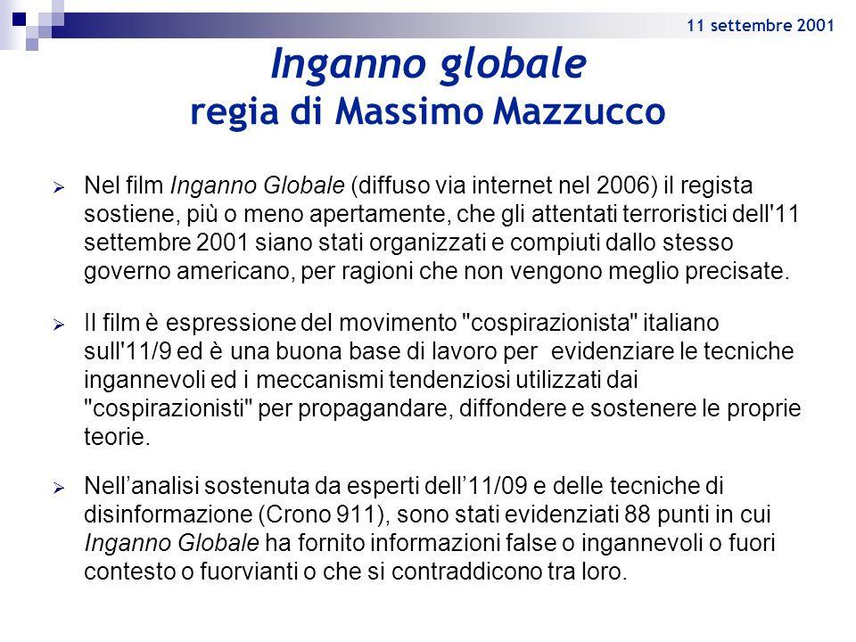Inganno globale regia di Massimo Mazzucco Nel film Inganno Globale (diffuso via internet nel 2006) il regista sostiene, più o meno apertamente, che gl