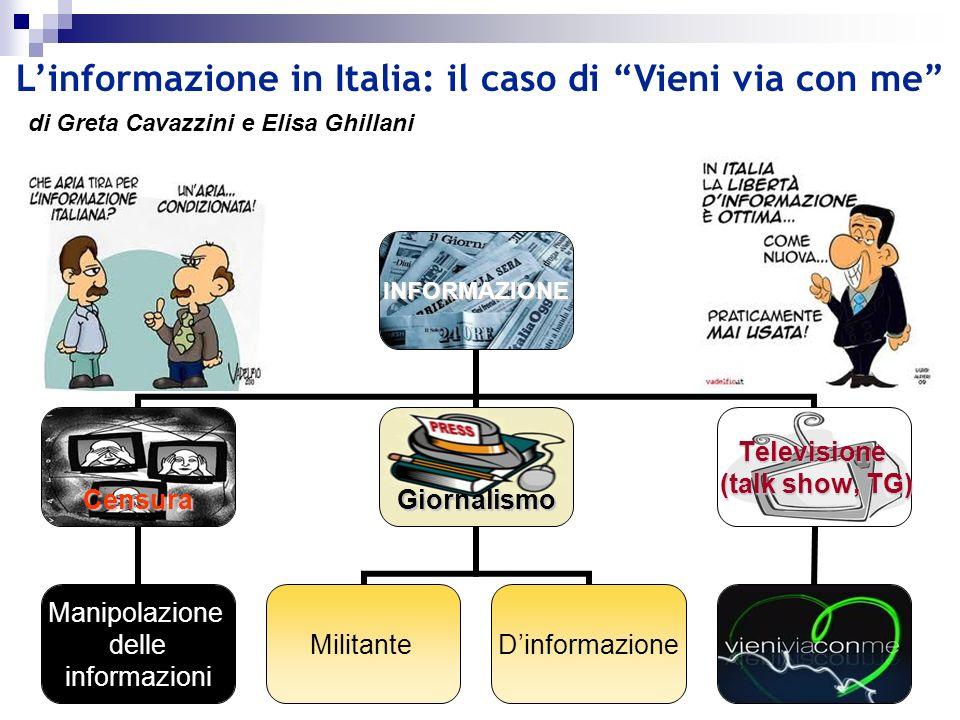 INFORMAZIONE Censura Manipolazione delle informazioni Giornalismo MilitanteDinformazione Televisione (talk show, TG) (talk show, TG) Linformazione in