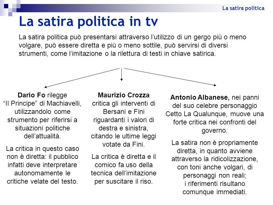 La satira politica in tv La satira politica può presentarsi attraverso lutilizzo di un gergo più o meno volgare, può essere diretta e più o meno sotti