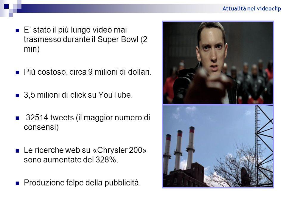 E stato il più lungo video mai trasmesso durante il Super Bowl (2 min) Più costoso, circa 9 milioni di dollari. 3,5 milioni di click su YouTube. 32514