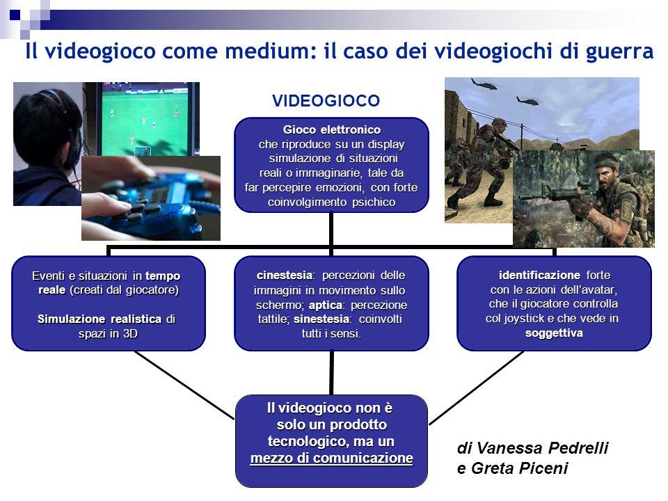 Il videogioco come medium: il caso dei videogiochi di guerra Gioco elettronico che riproduce su un display simulazione di situazioni simulazione di si