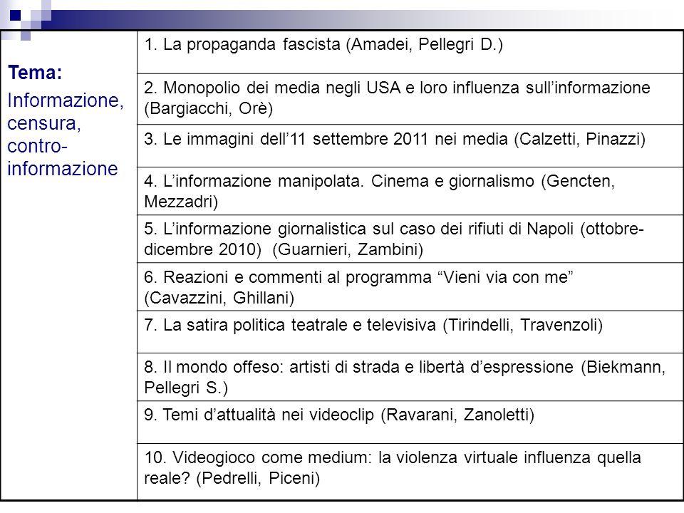 Tema: Informazione, censura, contro- informazione 1. La propaganda fascista (Amadei, Pellegri D.) 2. Monopolio dei media negli USA e loro influenza su