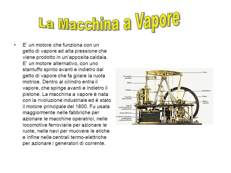 E un motore che funziona con un getto di vapore ad alta pressione che viene prodotto in unapposita caldaia. E un motore alternativo, con uno stantuffo