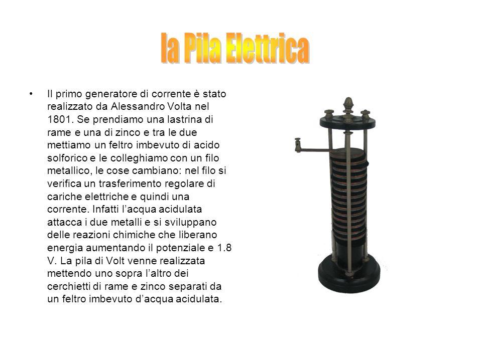 Il primo generatore di corrente è stato realizzato da Alessandro Volta nel 1801. Se prendiamo una lastrina di rame e una di zinco e tra le due mettiam