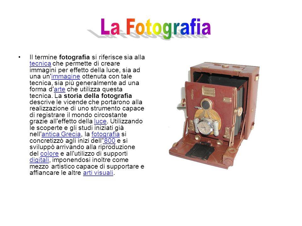 Il termine fotografia si riferisce sia alla tecnica che permette di creare immagini per effetto della luce, sia ad una un immagine ottenuta con tale tecnica, sia più generalmente ad una forma d arte che utilizza questa tecnica.