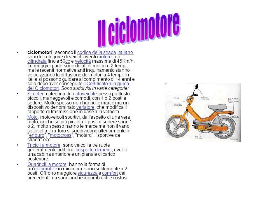 ciclomotori, secondo il codice della strada italiano, sono le categorie di veicoli aventi motore con cilindrata fino a 50cc e velocità massima di 45Km