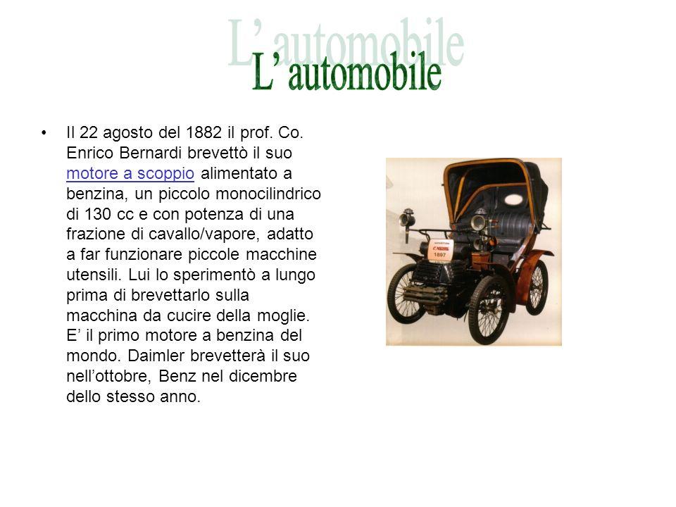 Il 22 agosto del 1882 il prof. Co. Enrico Bernardi brevettò il suo motore a scoppio alimentato a benzina, un piccolo monocilindrico di 130 cc e con po