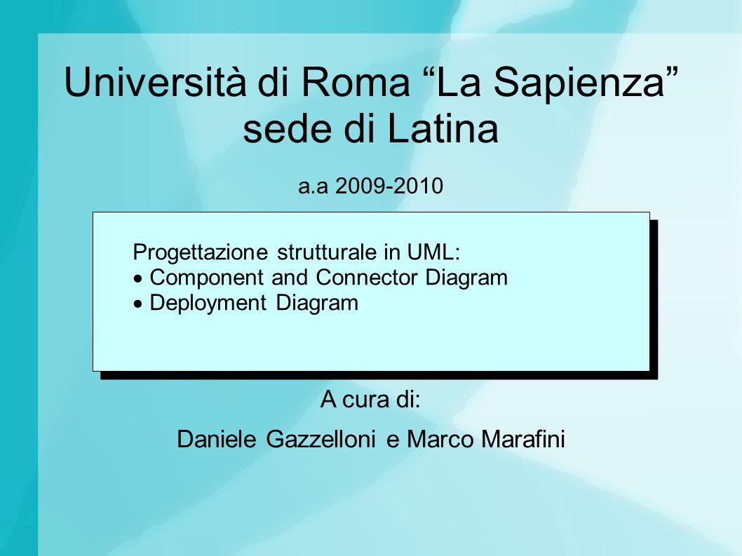 Università di Roma La Sapienza sede di Latina A cura di: Daniele Gazzelloni e Marco Marafini a.a 2009-2010 Progettazione strutturale in UML: Component