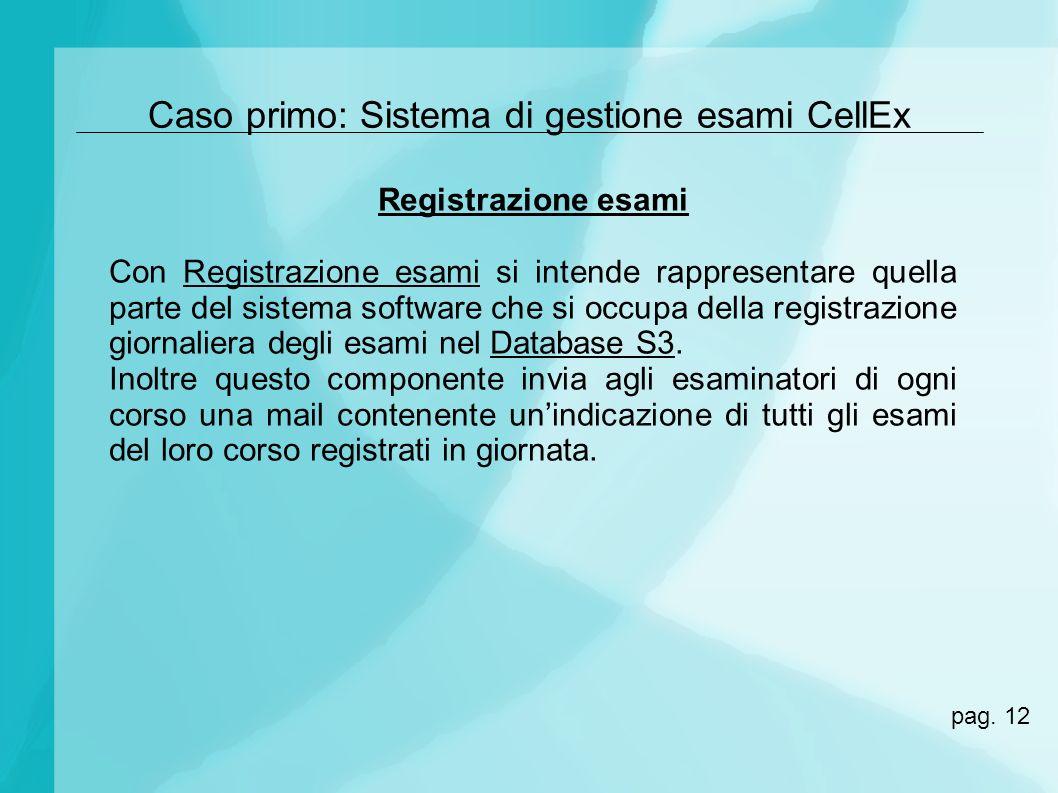 Caso primo: Sistema di gestione esami CellEx Registrazione esami Con Registrazione esami si intende rappresentare quella parte del sistema software ch