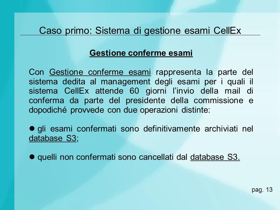 Caso primo: Sistema di gestione esami CellEx Gestione conferme esami Con Gestione conferme esami rappresenta la parte del sistema dedita al management