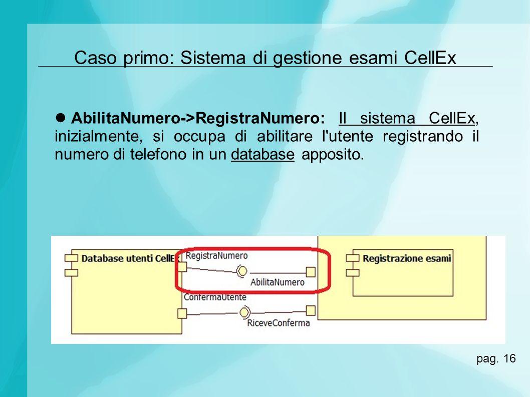 Caso primo: Sistema di gestione esami CellEx AbilitaNumero->RegistraNumero: Il sistema CellEx, inizialmente, si occupa di abilitare l'utente registran