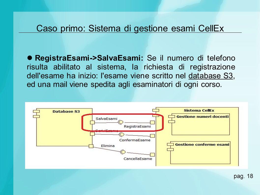 Caso primo: Sistema di gestione esami CellEx RegistraEsami->SalvaEsami: Se il numero di telefono risulta abilitato al sistema, la richiesta di registr