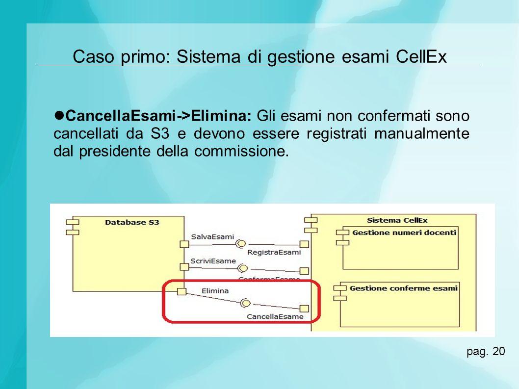 Caso primo: Sistema di gestione esami CellEx CancellaEsami->Elimina: Gli esami non confermati sono cancellati da S3 e devono essere registrati manualm