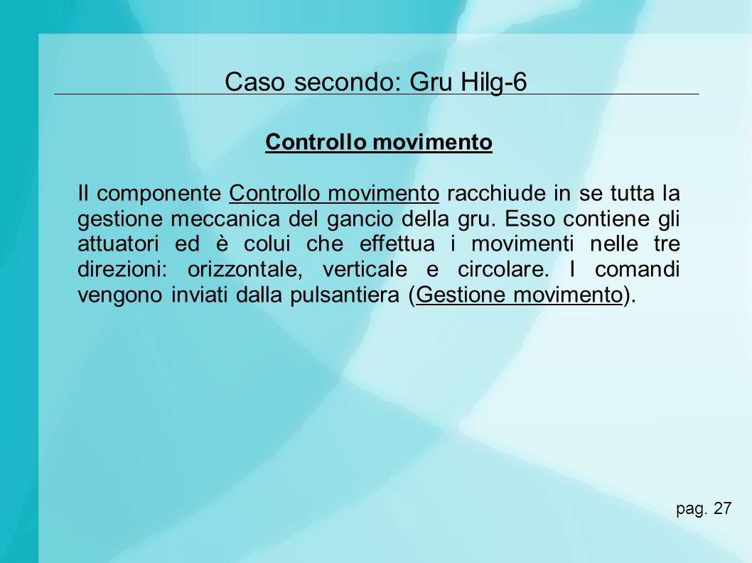 Caso secondo: Gru Hilg-6 Controllo movimento Il componente Controllo movimento racchiude in se tutta la gestione meccanica del gancio della gru. Esso