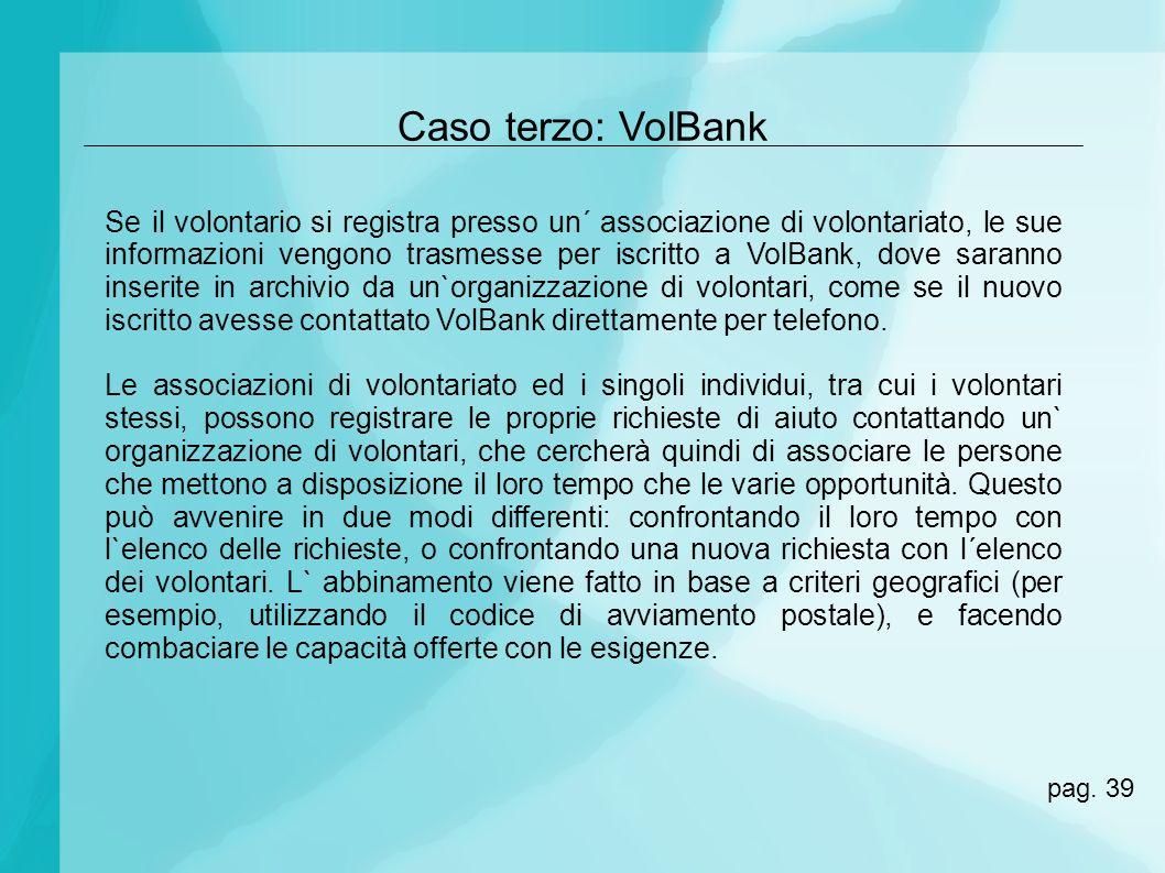 Caso terzo: VolBank Se il volontario si registra presso un´ associazione di volontariato, le sue informazioni vengono trasmesse per iscritto a VolBank