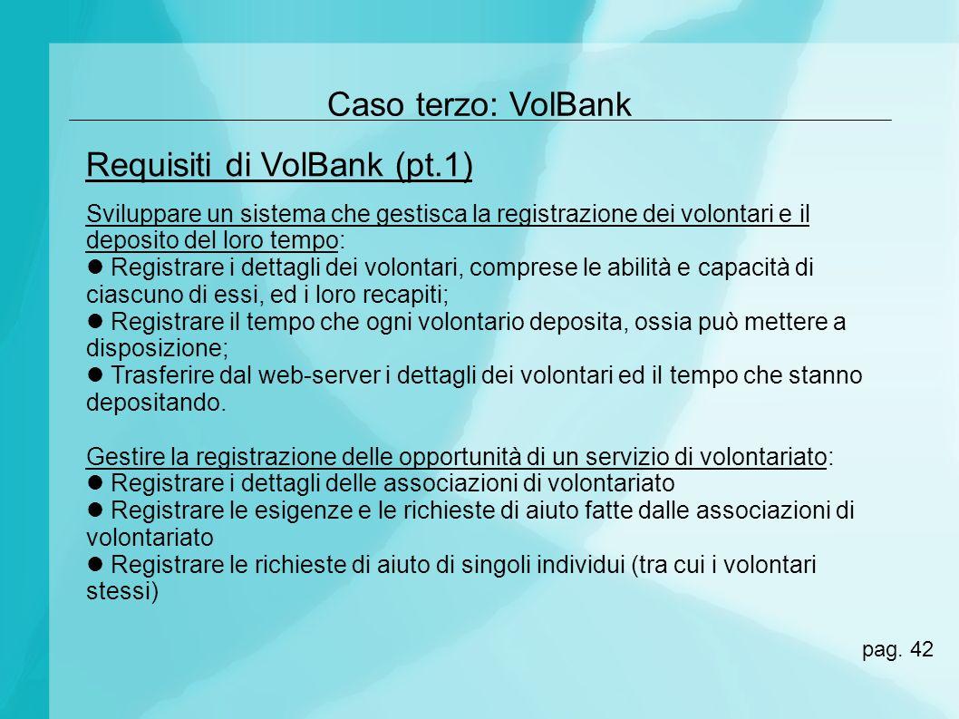 Caso terzo: VolBank Sviluppare un sistema che gestisca la registrazione dei volontari e il deposito del loro tempo: Registrare i dettagli dei volontar