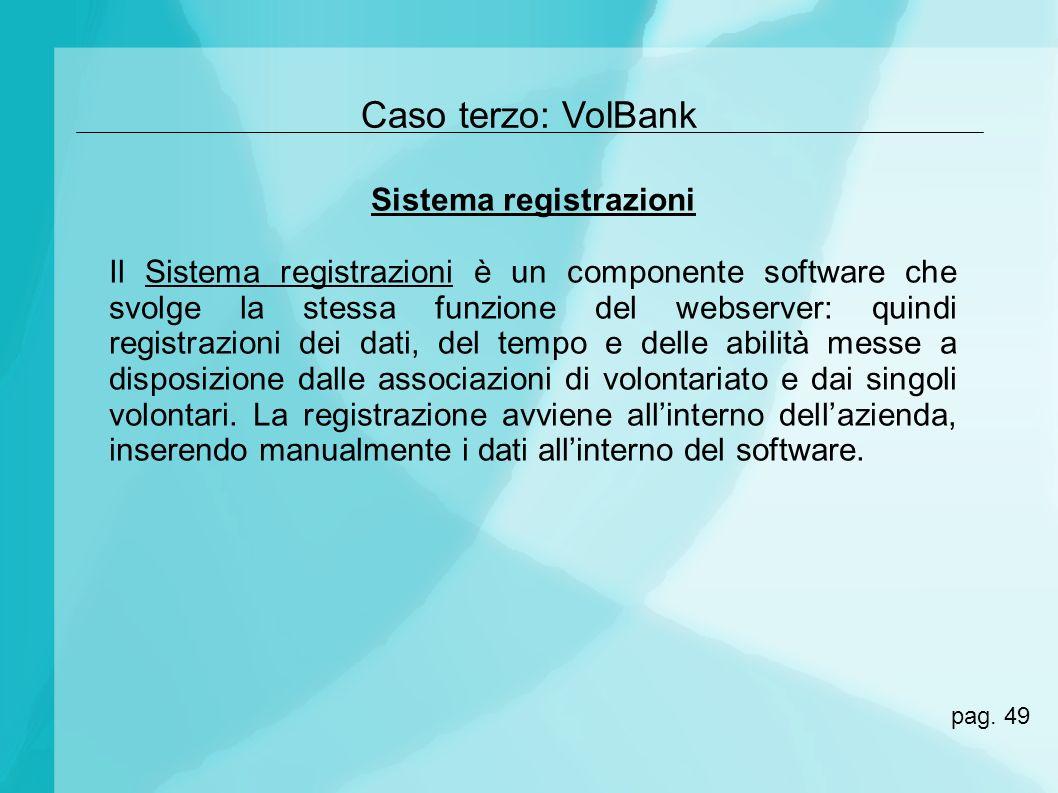 Caso terzo: VolBank Sistema registrazioni Il Sistema registrazioni è un componente software che svolge la stessa funzione del webserver: quindi regist