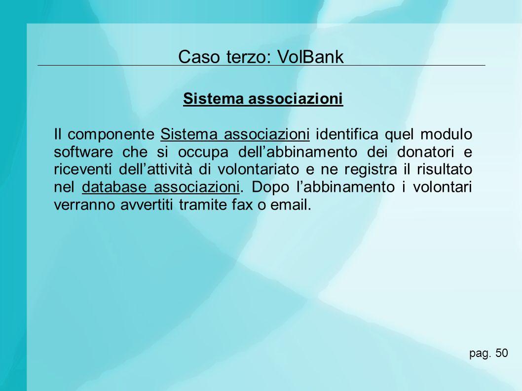 Caso terzo: VolBank Sistema associazioni Il componente Sistema associazioni identifica quel modulo software che si occupa dellabbinamento dei donatori