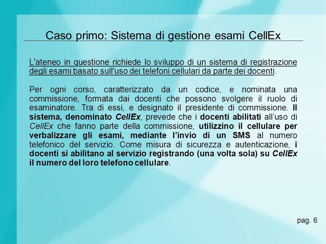 Caso primo: Sistema di gestione esami CellEx L'ateneo in questione richiede lo sviluppo di un sistema di registrazione degli esami basato sull'uso dei
