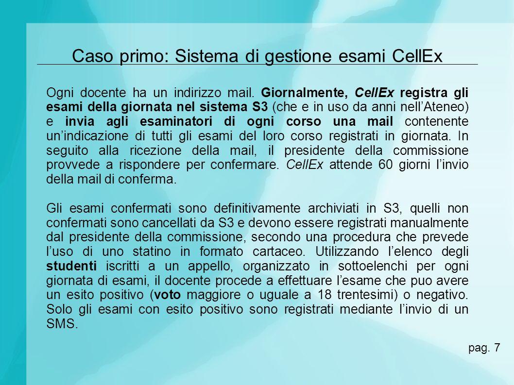 Caso primo: Sistema di gestione esami CellEx Ogni docente ha un indirizzo mail. Giornalmente, CellEx registra gli esami della giornata nel sistema S3