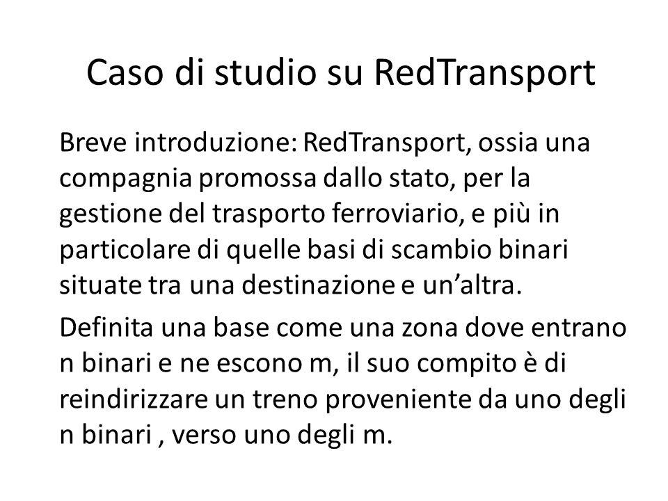 Caso di studio su RedTransport Breve introduzione: RedTransport, ossia una compagnia promossa dallo stato, per la gestione del trasporto ferroviario, e più in particolare di quelle basi di scambio binari situate tra una destinazione e unaltra.