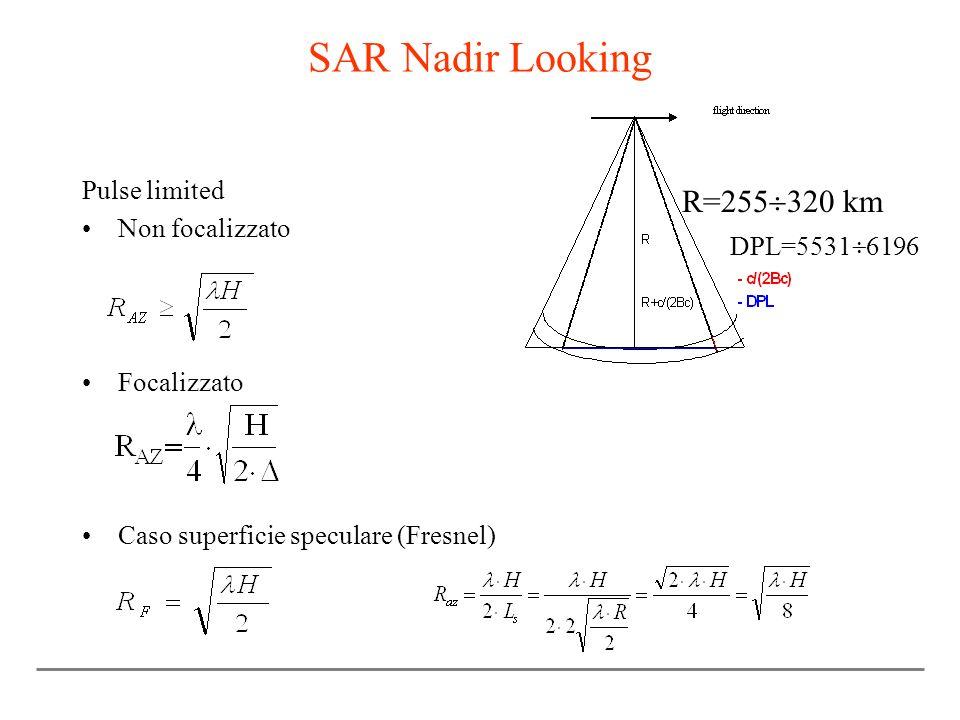 SAR Nadir Looking Pulse limited Non focalizzato Focalizzato Caso superficie speculare (Fresnel) DPL=5531 6196 R=255 320 km