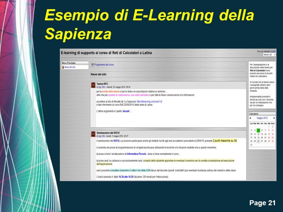 Page 21 Esempio di E-Learning della Sapienza
