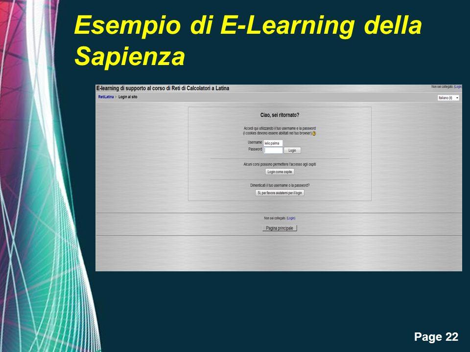 Page 22 Esempio di E-Learning della Sapienza