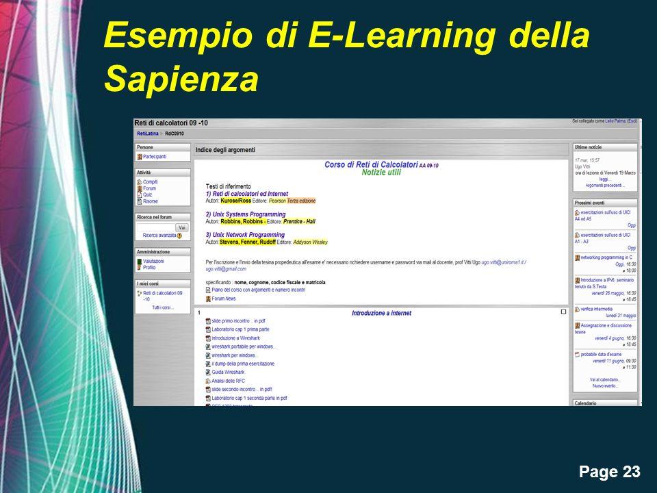 Page 23 Esempio di E-Learning della Sapienza