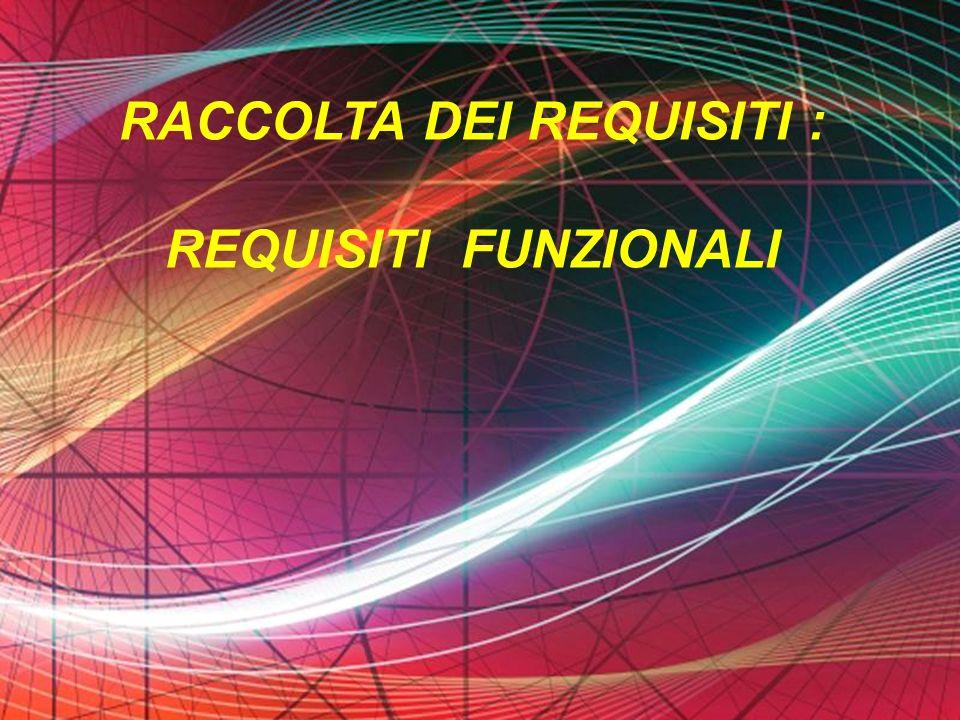 Page 37 RACCOLTA DEI REQUISITI : REQUISITI FUNZIONALI