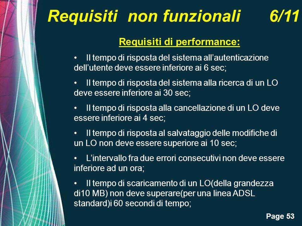 Page 53 Requisiti non funzionali 6/11 Requisiti di performance: Il tempo di risposta del sistema allautenticazione dellutente deve essere inferiore ai