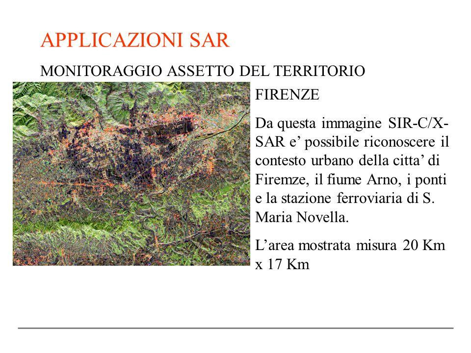 APPLICAZIONI SAR MONITORAGGIO ASSETTO DEL TERRITORIO FIRENZE Da questa immagine SIR-C/X- SAR e possibile riconoscere il contesto urbano della citta di