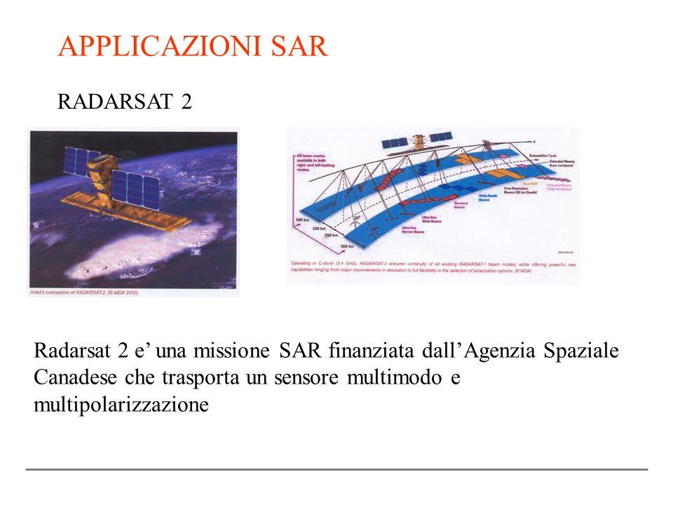 APPLICAZIONI SAR RADARSAT 2 Radarsat 2 e una missione SAR finanziata dallAgenzia Spaziale Canadese che trasporta un sensore multimodo e multipolarizza