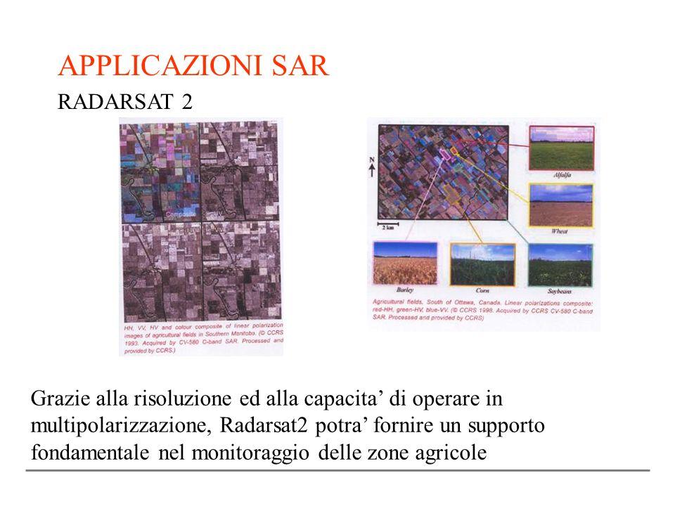 APPLICAZIONI SAR RADARSAT 2 Grazie alla risoluzione ed alla capacita di operare in multipolarizzazione, Radarsat2 potra fornire un supporto fondamenta