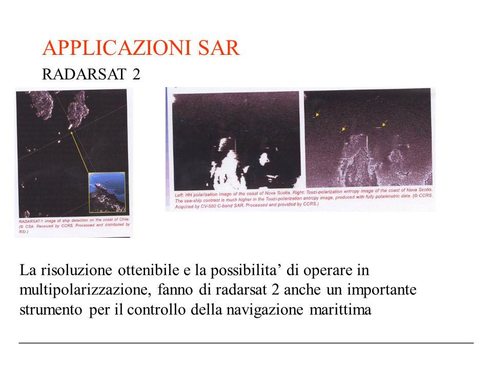 APPLICAZIONI SAR RADARSAT 2 La risoluzione ottenibile e la possibilita di operare in multipolarizzazione, fanno di radarsat 2 anche un importante stru