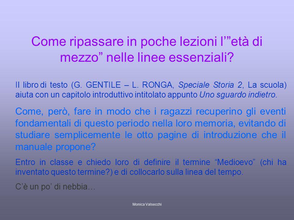 Monica Valsecchi Come ripassare in poche lezioni letà di mezzo nelle linee essenziali? Il libro di testo (G. GENTILE – L. RONGA, Speciale Storia 2, La