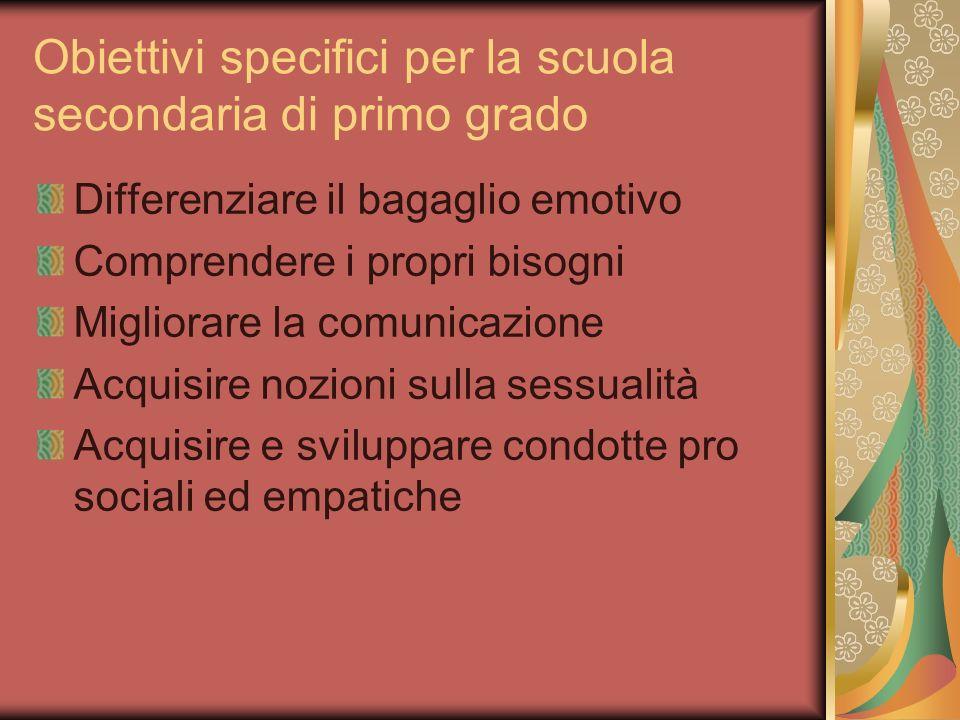 Obiettivi specifici per la scuola secondaria di primo grado Differenziare il bagaglio emotivo Comprendere i propri bisogni Migliorare la comunicazione Acquisire nozioni sulla sessualità Acquisire e sviluppare condotte pro sociali ed empatiche