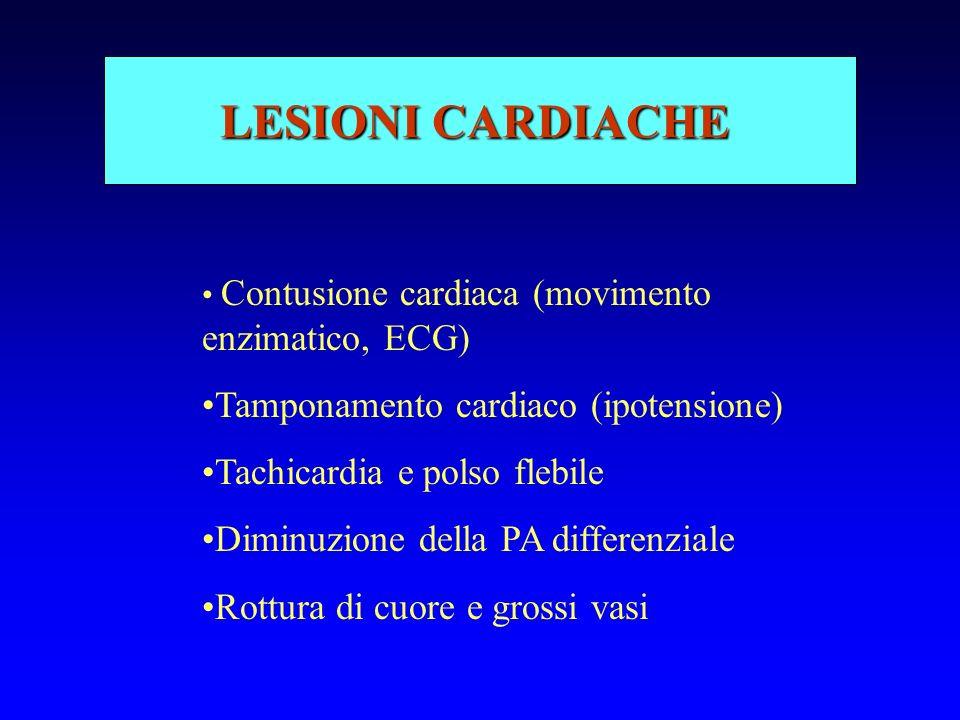 LESIONI CARDIACHE Contusione cardiaca (movimento enzimatico, ECG) Tamponamento cardiaco (ipotensione) Tachicardia e polso flebile Diminuzione della PA differenziale Rottura di cuore e grossi vasi