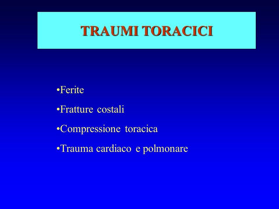 TRAUMI APERTI: SOCCORSO Medicazione sterile Tamponamento Trattamento eventuale shock emorragico Riposizionamento visceri in cavità Non rimuovere il corpo estraneo