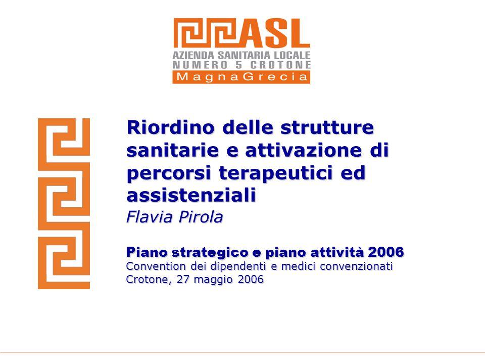 Riordino delle strutture sanitarie e attivazione di percorsi terapeutici ed assistenziali Flavia Pirola Piano strategico e piano attività 2006 Convent
