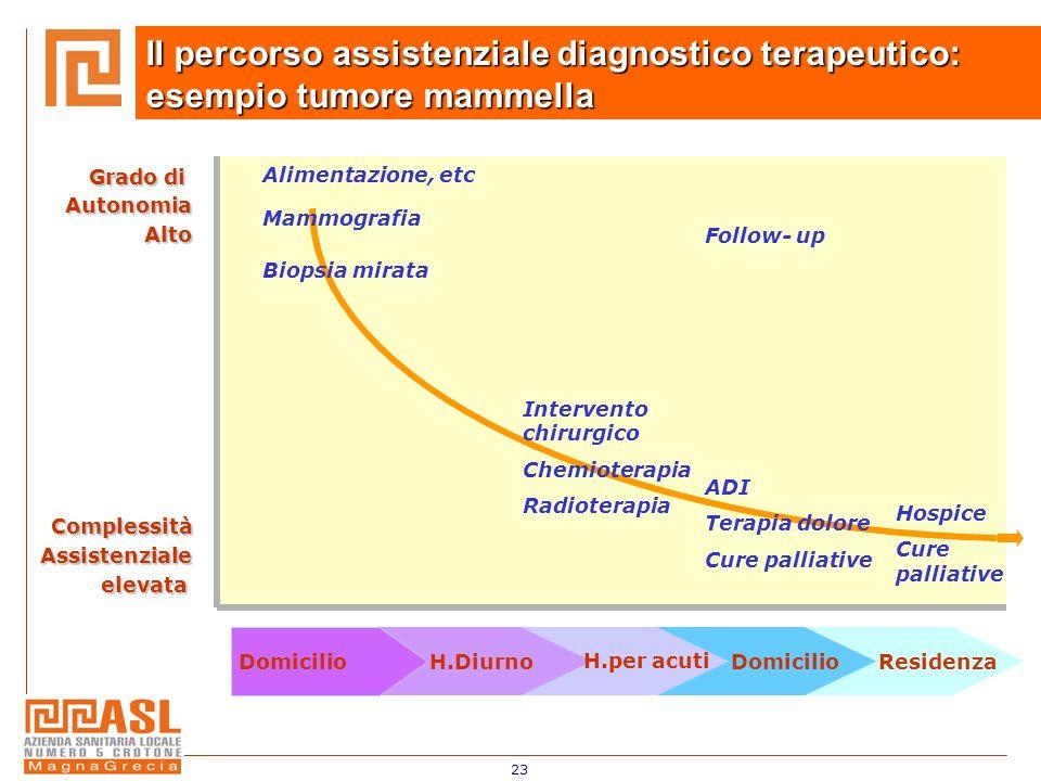 23 Il percorso assistenziale diagnostico terapeutico: esempio tumore mammella DomicilioH.Diurno H.per acuti DomicilioResidenza Intervento chirurgico C