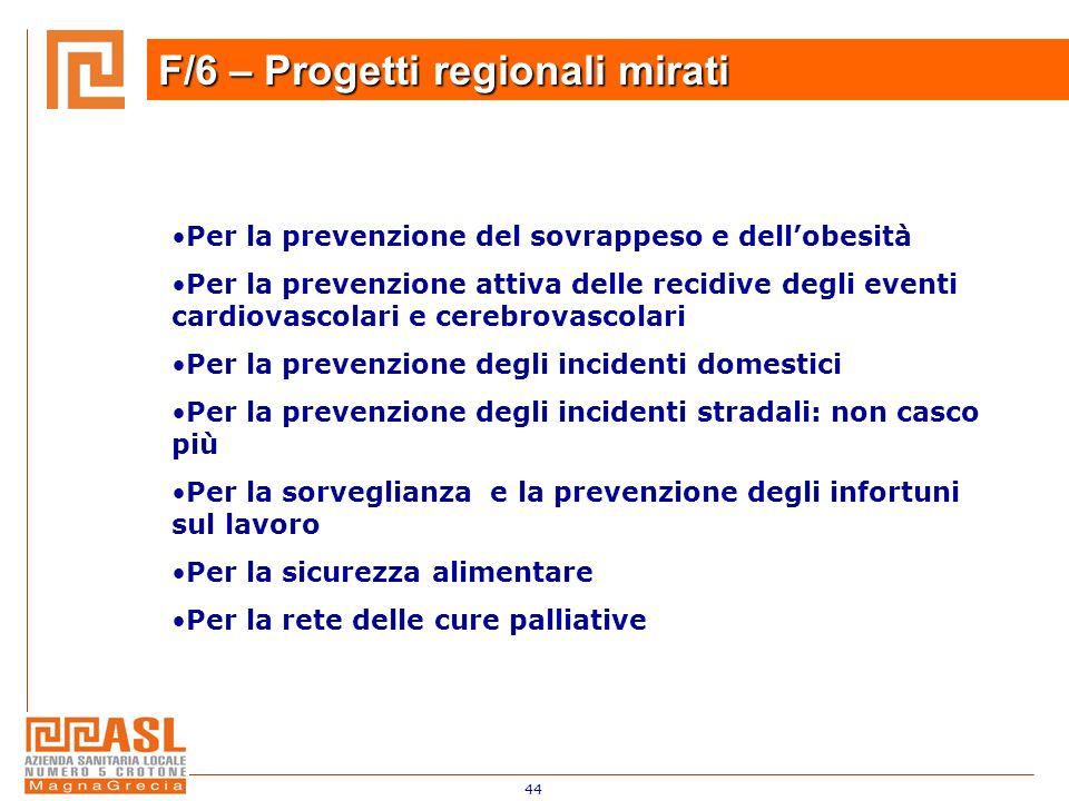 44 F/6 – Progetti regionali mirati Per la prevenzione del sovrappeso e dellobesità Per la prevenzione attiva delle recidive degli eventi cardiovascola