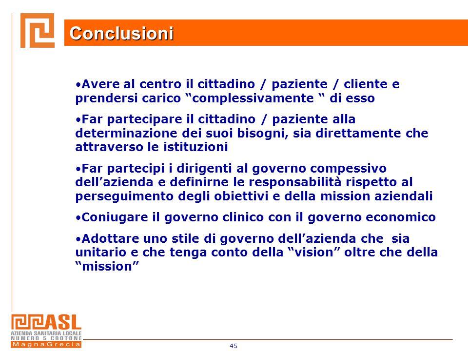 45 Conclusioni Avere al centro il cittadino / paziente / cliente e prendersi carico complessivamente di esso Far partecipare il cittadino / paziente a