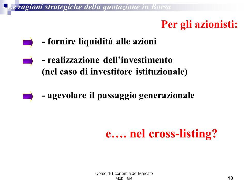 Corso di Economia del Mercato Mobiliare13 - Le ragioni strategiche della quotazione in Borsa Per gli azionisti: - fornire liquidità alle azioni - real