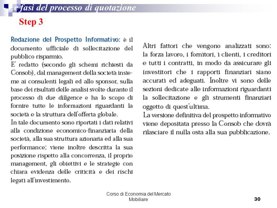 Corso di Economia del Mercato Mobiliare30 Step 3 - Le fasi del processo di quotazione