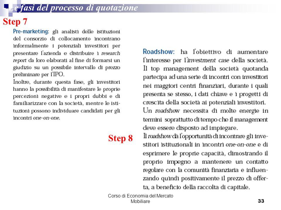 Corso di Economia del Mercato Mobiliare33 Step 7 Step 8 - Le fasi del processo di quotazione