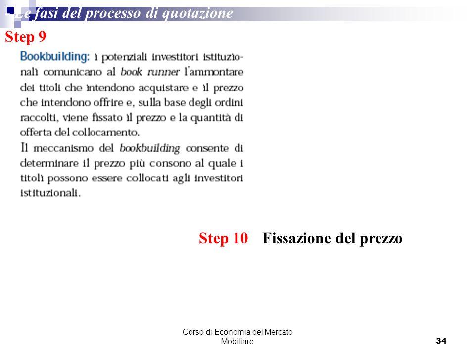 Corso di Economia del Mercato Mobiliare34 Step 9 Step 10 Fissazione del prezzo - Le fasi del processo di quotazione