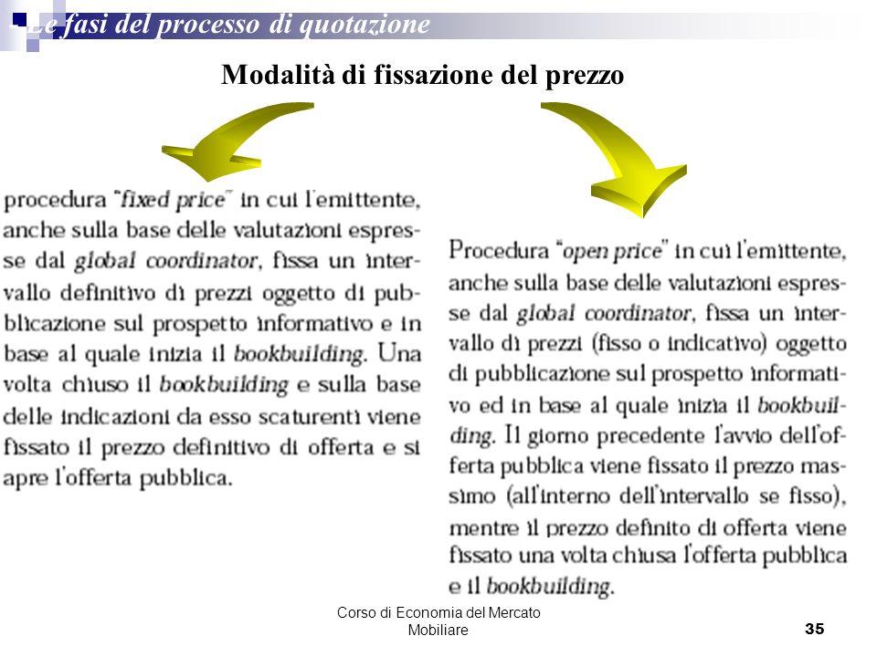 Corso di Economia del Mercato Mobiliare35 Modalità di fissazione del prezzo - Le fasi del processo di quotazione