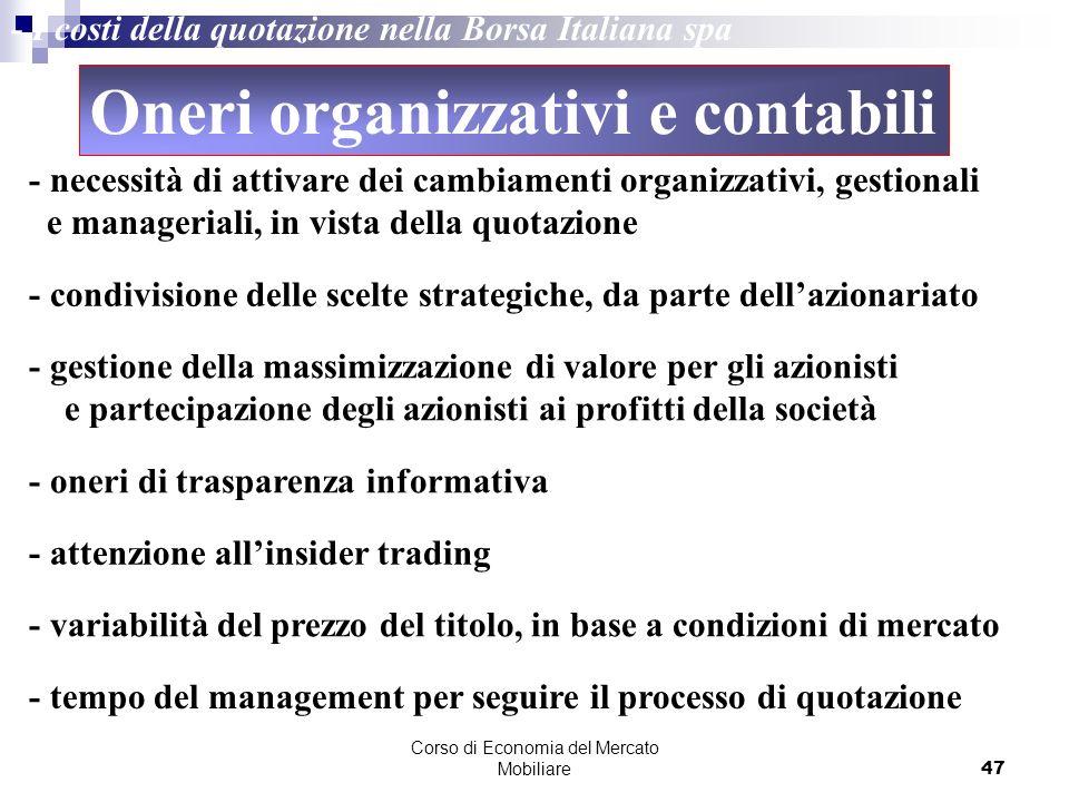 Corso di Economia del Mercato Mobiliare47 - I costi della quotazione nella Borsa Italiana spa - necessità di attivare dei cambiamenti organizzativi, g